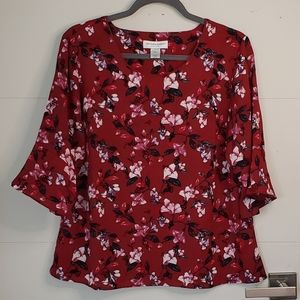 Christopher & Banks 3/4 Sleeve PM Blouse (A113)
